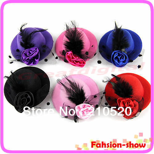 W110New Fashion Lady's Mini Hat Hair Clip Feather Rose Top Cap Lace fascinator Costume Accessory 6Colors Free Shipping(China (Mainland))