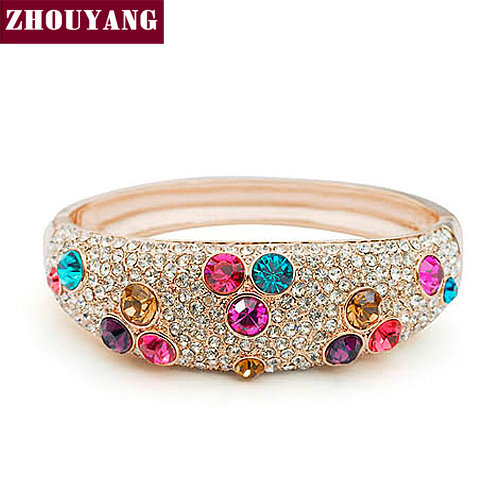 ZHOUYANG ZYB004 Ball Multicolour Crystal Rose Gold Plated Bangle Jewelry Made with Genuine Austrian Crystals Wholesale