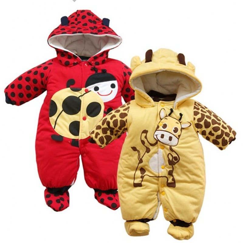 Baby Cow beetle thick cotton wadded jacket romper baby girl and boy newborn romper clothes(China (Mainland))