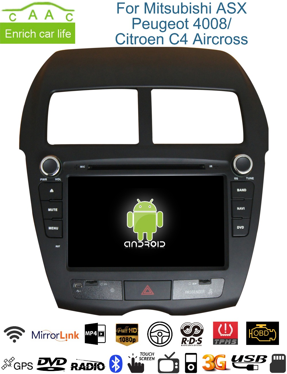 Android GPS Navigation 8 inch Car DVD Player Mitsubishi ASX/Citroen C-Aircross/Peugeot 4008 BT/RDS/SWC/Canbus/Mirrorlink - China Auto Accessories' Club store