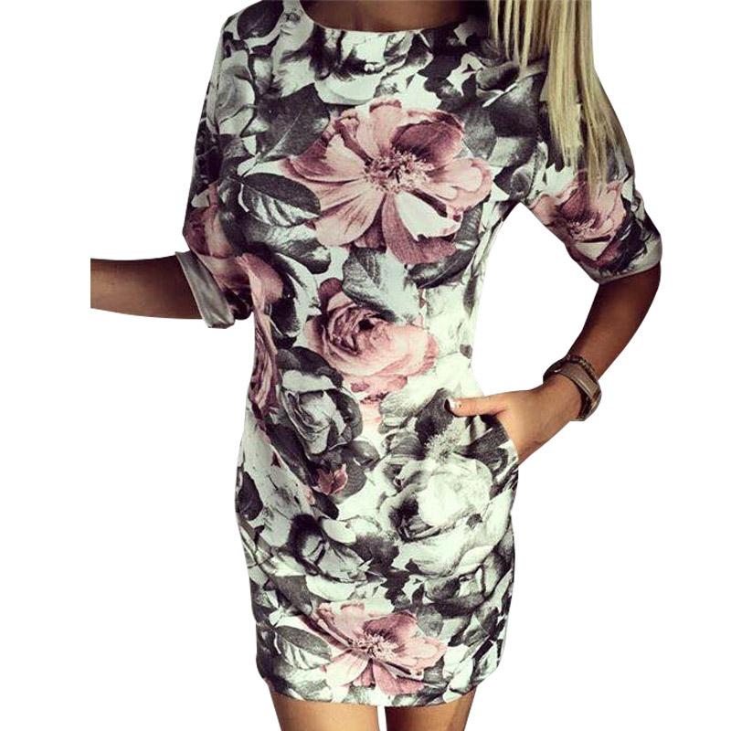2016 Summer Dress Print Mini Dress Casual Half Sleeve Women Pencil Bodycon Dress Floral Sheath Pencil Dresses(China (Mainland))