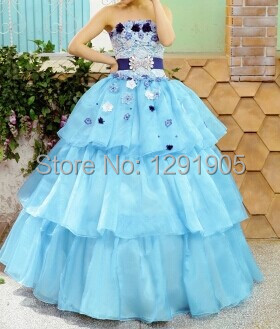 blue rhinestone ruffles Medieval dress Renaissance Gown princess Costume Victoria Gothic /Marie Antoinette/civil war/Belle ball(China (Mainland))