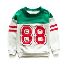 Children of foreign trade of cotton sweater color long sleeved T-shirt  movement style all-match special free shipping(China (Mainland))