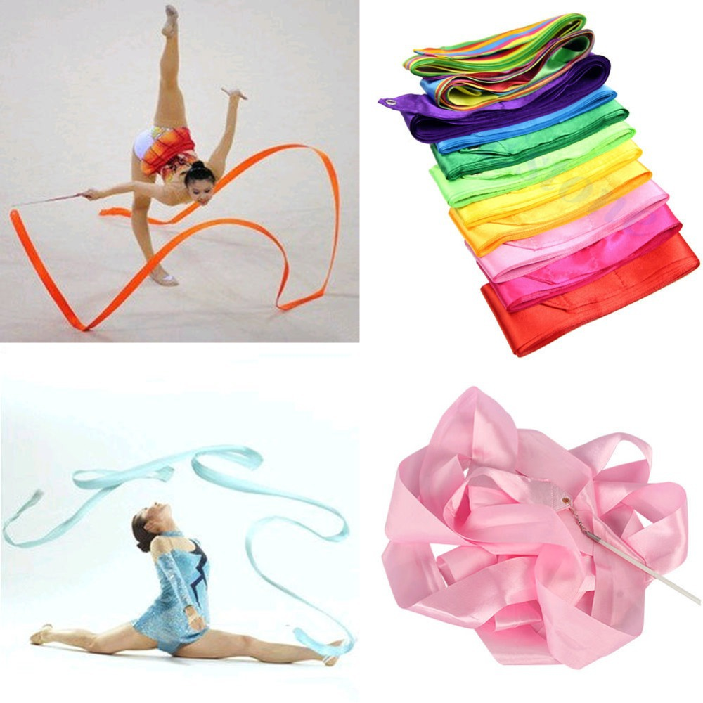 Гаджет  U119 Free Shipping 4M Gym Dance Ribbon Rhythmic Art Gymnastic Streamer Twirling Rod Stick 11 Colors None Спорт и развлечения