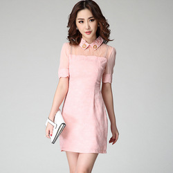 2015 Summer Women's Beading Appliques Peter Pan Collar Jacquard Dress Short-Sleeve Ruffle Pink Shirt Dresses