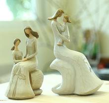 "Mother & Daughter Resin Figurine 6.3"" Tall Home Decor Handmade Sculpture Gift Miniature Fairy Figurines(China (Mainland))"