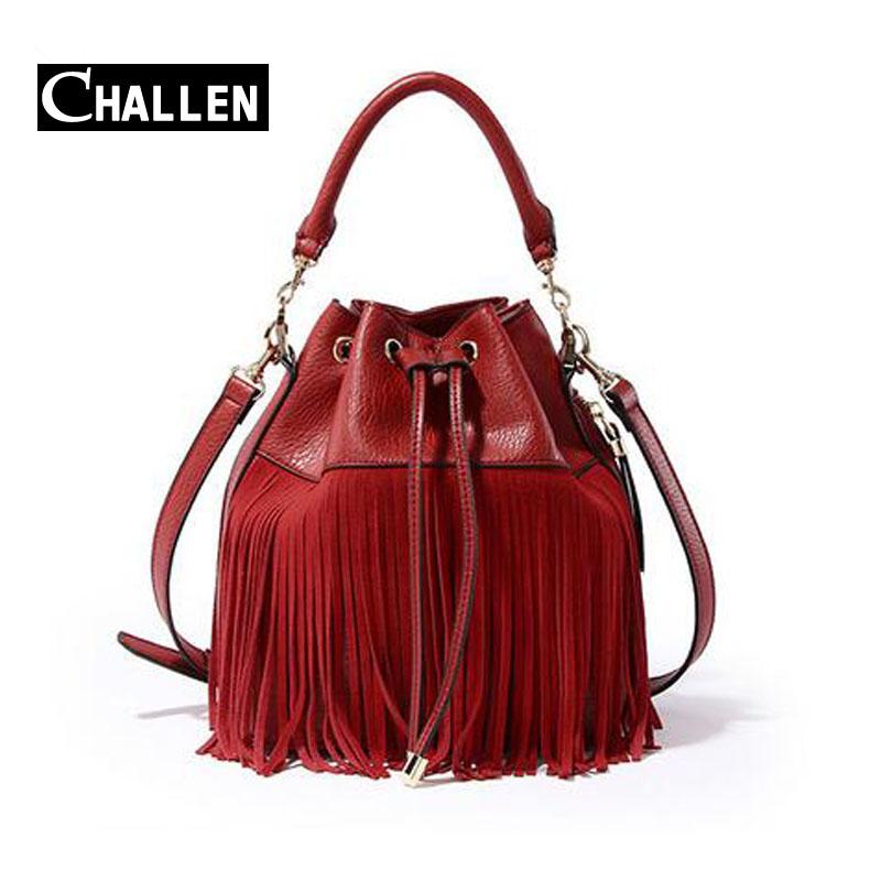 fringe luxury italian handbags womens bags designer banrd famous women shoulder bag female large tote bag Tassel bucket tote bag(China (Mainland))
