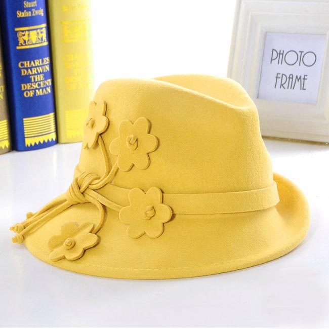 Wholesale 6pcs 2015 Style Women Winter Wool Fedora Fashion Ladies Wool Felt Hats Womens Fall Trilby Hat Lady Spring Fedoras Caps(China (Mainland))