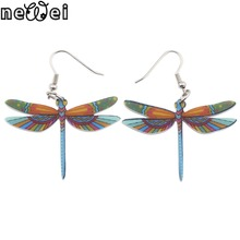 Newei Drop Dragonfly Earrings Jewelry Long Dangle Earring Acrylic Pattern Fashion For Women 2015 New Style Girl Accessories
