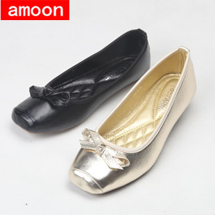 Amoon / Women Girl 2015 New Summer Autumn Rubber Solid Bowtie Square Toe PU Ballet Flat 298#5/ 2 Colors/ 7 Plus 41 Size - ^^ Flats and More store