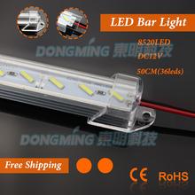 U Aluminium Profile 8520 LED rigid Strip 50cm 36leds 12V with milky/clear pc covcer led strip bar for cabinet closet kitchen(China (Mainland))