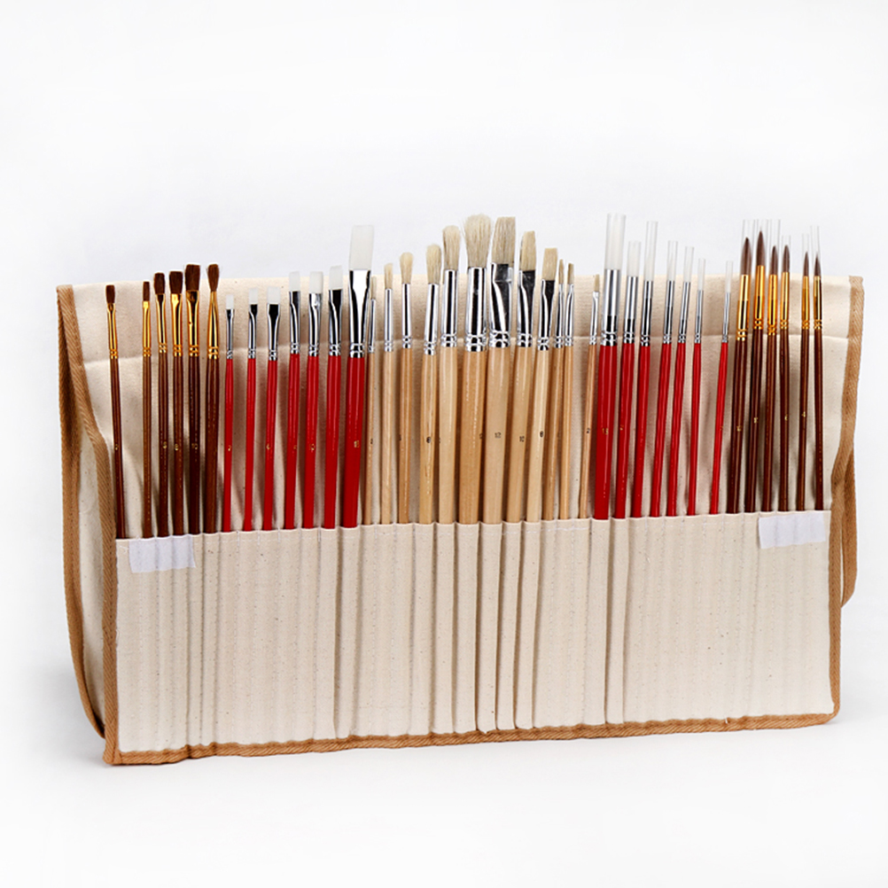 38 Paint Brush Set With Canvas Holder Synthetic Hair Art Brushes For Watercolor Acrylic Oil Painting Brushes Drawing Art Supplie(China (Mainland))