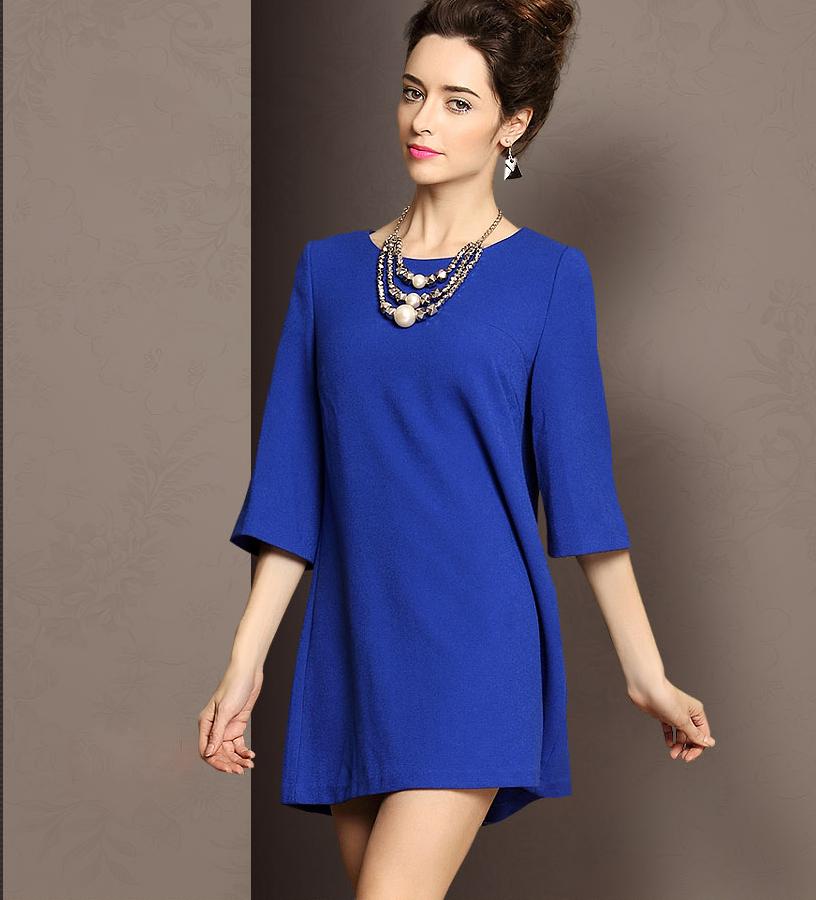 Короткое платье с рукавом три четверти