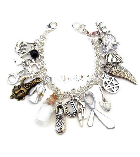 6pcs Supernatural  inspired bracelet Deluxe Fandom Charm Bracelet silver tone Charms bracelet от Aliexpress INT