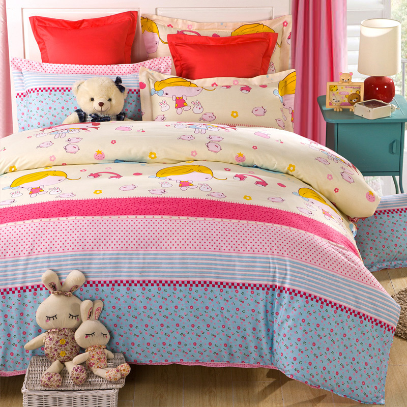 Free shipping lovely girl and cat bedding sets queen size(China (Mainland))