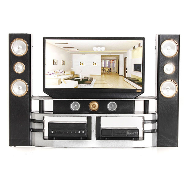 Beautiful Hi-Fi 1:6 TV Home Theater Cabinet Set Combo for Blythe for Barbie Dolls House Dollhouse Furniture(China (Mainland))
