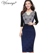Buy Vfemage Women Elegant Slim Tunic Geometry Printed High Waist Jacquard Fabric Casual Work Party Bodycon Sheath Dress 4297 for $22.49 in AliExpress store