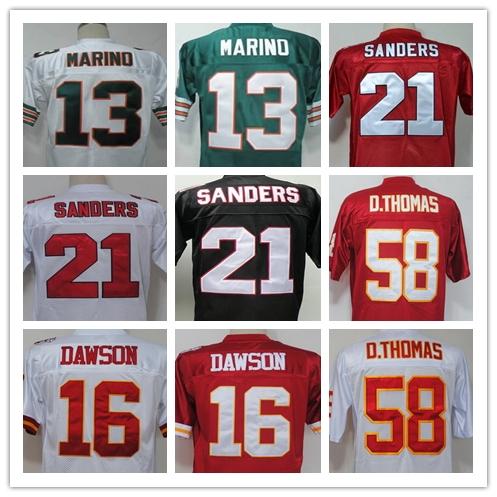 Deion Sanders Len Dawson Derrick Thomas Dan Marino Men's Throwback Jersey Size 48-56(China (Mainland))
