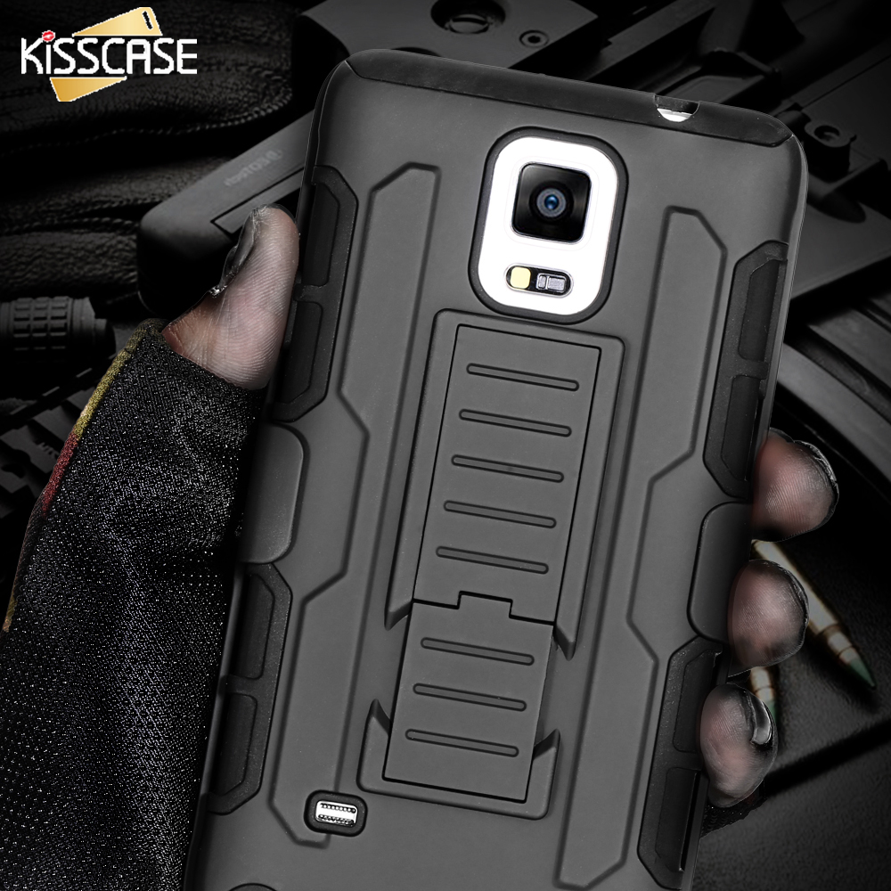 KISSCASE Hard Plastic Hybrid Military Armor Mobile Phone Case Samsung Galaxy Note 4 Note 5 Note 3 S6 S7 Edge Plus Back Cover