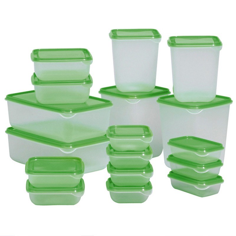 17pcs/set Sealed Crisper Refrigerator Plastic Food Storage Box Preservation  Box Container Kitchen Supplies Hot