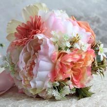 2016 moda de nueva ramo de mariage rose et blanc boda de dama de honor ramo de flores de seda cinta hechos a mano accesorios de la boda(China (Mainland))