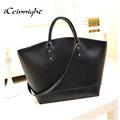 iCeinnight luxury brand pu leather women handbag belt shoulder bags designer black solid zipper large big