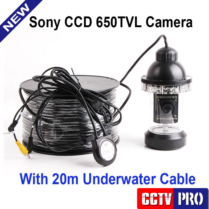 Underwater Fishing Camera Kit HD CCD 650TVL 18Pcs IR/White LED Lights Camera Night Vision Rotate At 360 Degree With 20m Cable(China (Mainland))