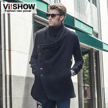 Hot Sale Viishow 2015 men trench coat winter long black trench coat men chic Inclined single breasted jacket and coat(China (Mainland))