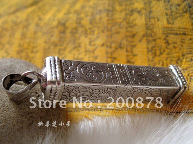 T9107 Nepal 925 Silver handmade pendant,54*11mm,Tibetan Lucky Eight Auspicious symbols Prayer box GAU amulet,free shipping(China (Mainland))