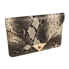 2015 Brand New Women's Synthetic Leather Snake Skin Envelope Bag Day Clutches Purse Evening Bag 34(China (Mainland))