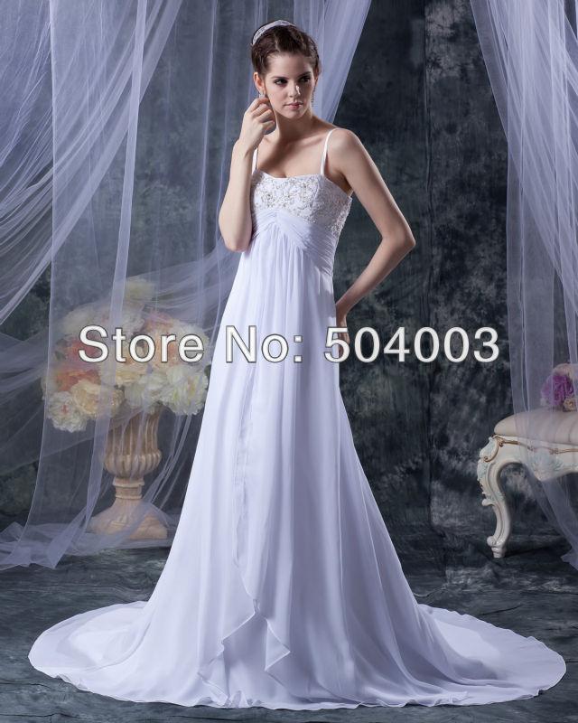 Free Shipping Popular Floor length Bridal Gown Elegant Spaghetti Straps Chiffon Wedding Dress 2016 Any Color/Size(China (Mainland))