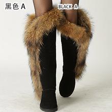 INOE Moda Estilo chicas grandes del muslo altos de piel de zorro de la nieve del invierno cargadores para las mujeres zapatos de invierno de cuero real señora botas largas para partido(China (Mainland))