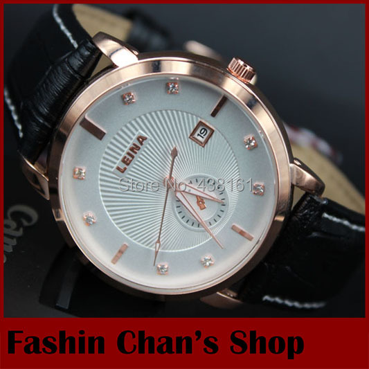 Top popular 2015 brand LEINA gold case men mechanical hand wind leather strap military watches for men clock wholesale freeship(China (Mainland))