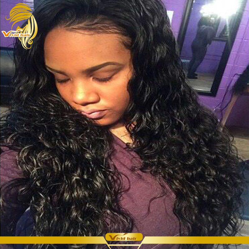 180% Density Peruvian Deep Wave Full Lace Wigs Virgin Unprocessed Lace Front Wig Human Hair Wigs For Black Women Bleached Knots(China (Mainland))