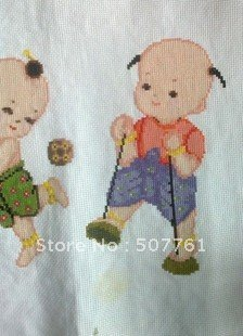 Free Shipping ! Fine handmade cross stitch finished five sites ( five sons and one of the send blessing )(China (Mainland))