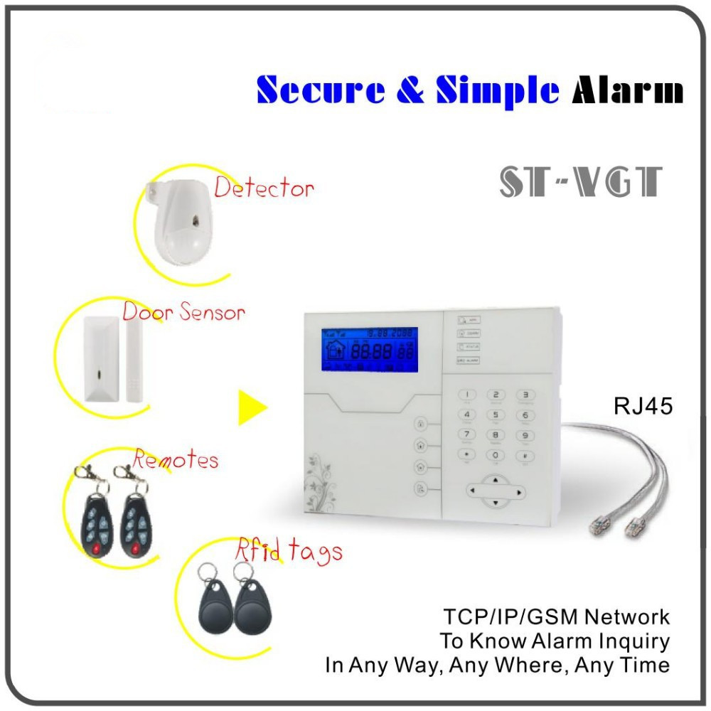 Hot Selling Wireless TCP/IP Burglar Security Home Alarm System GSM Alarm System Remote control by Web IE and App(China (Mainland))