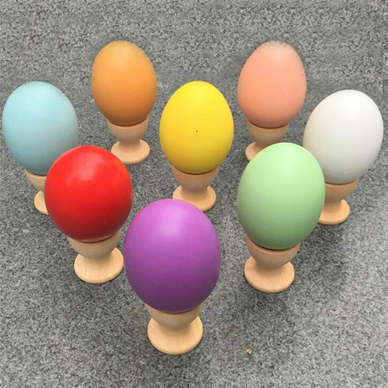 Color Choice 2017 New Funny Education Kids DIY Painting Wooden Colorful Egg Toy Easter Egg paint drawing gift Toys for children(China (Mainland))