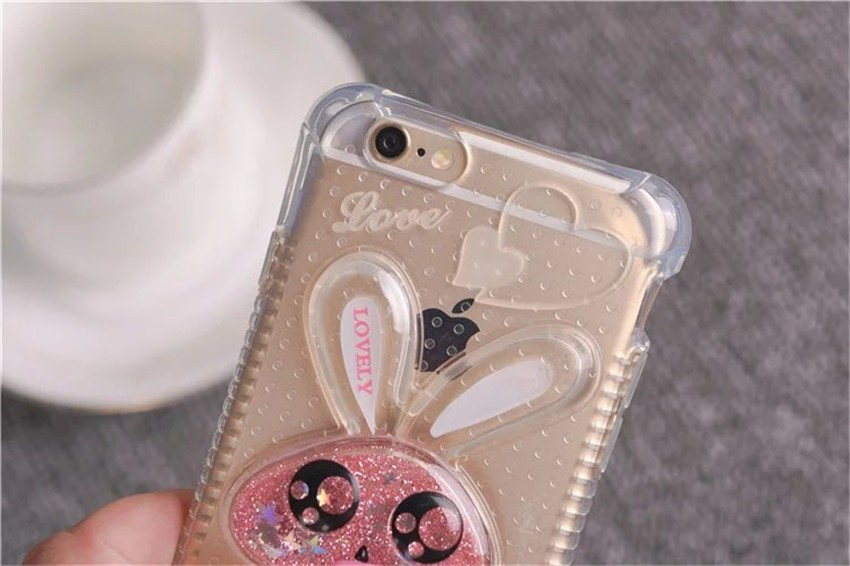 New Cute 3D Rabbit With Dynamic Liquid Quicksand Glitter Clear Phone Cases Cover For iPhone 4 4G 4S 5 5G 5S SE 6 6G 6S 6Plus 5.5