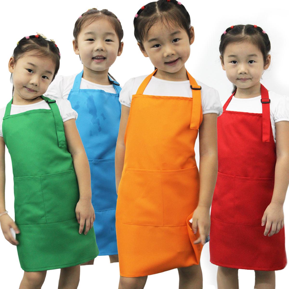 Children Kids Plain Apron Kitchen Cooking Baking Painting Cooking Craft Art Bib(China (Mainland))