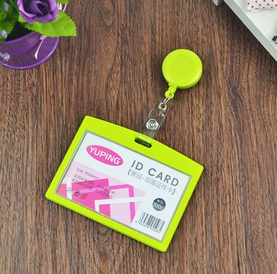 1pcs Green Color Business ID Card Badge Holder Horizontal For Company School Office Exhibition with Retractable Badge Reel(China (Mainland))