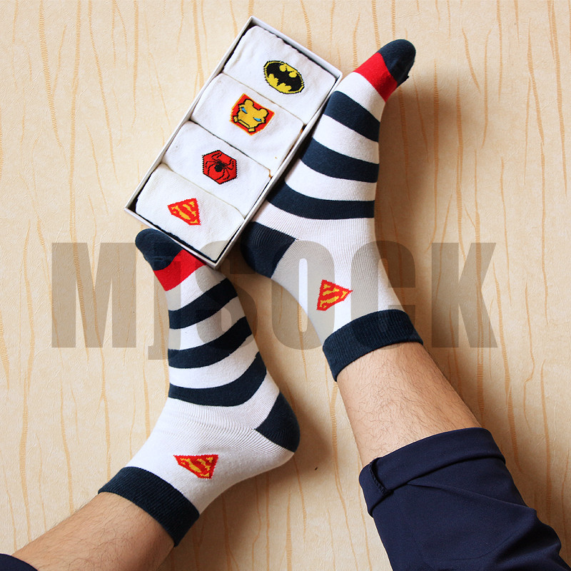 37-43 1lot=4pairs MARVEL socks NO BOX spin-off Heroes logo mid-length striped sox MR Spider-man superman batman ironman present - Aloha Paris store