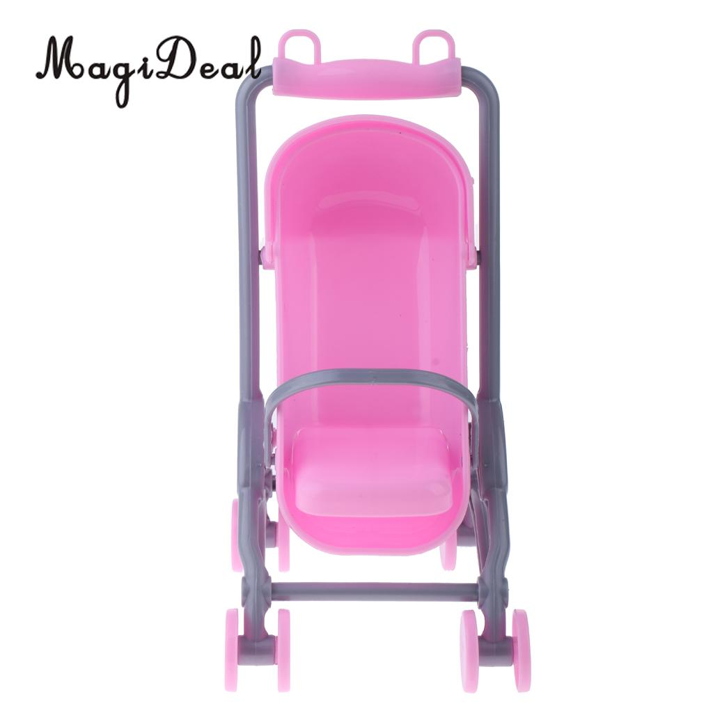 1/6 Pink Baby Cradle Bed+Stroller Model Dollhouse Miniature Furniture for Dolls Accs Kids Children Pretend Play Toys