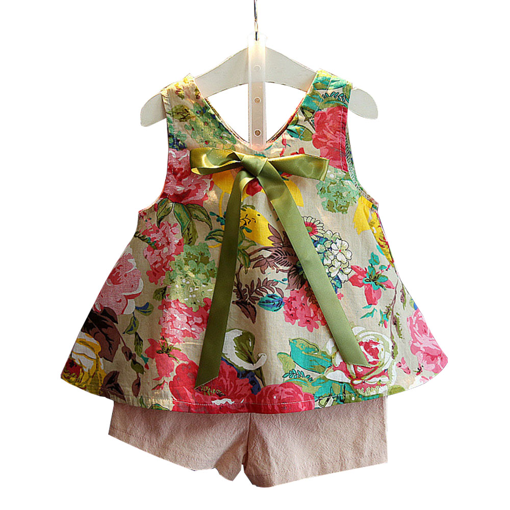 2017 Summer Bow Flower Printing Vest +Short Pants Sets Printing Baby Girls Suit Kids Clothes Fashion Style Girl Clothing Set(China (Mainland))