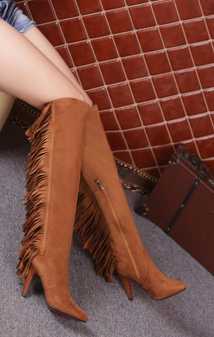 2015 New Winter Thin Suede Fringed Women Boots High Heels Plus Velvet Side Zipper Knee Tall Canister Fringed Boots Shoes Woman<br><br>Aliexpress