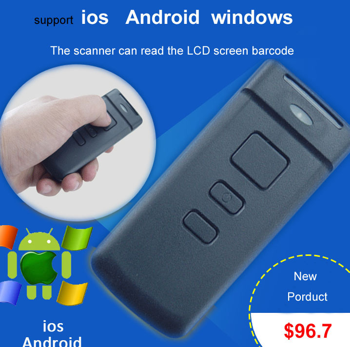 High quality Wireless bluetooth scanner support Windows  IOS Androd Wireless red bar code Supermarket  portable and decoder<br><br>Aliexpress