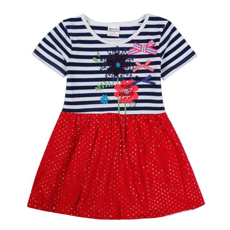 wholesale brand nova clothing summer short sleeve floral fashion striped pokla dot girl dress 2016 new design baby girl clothes <br><br>Aliexpress