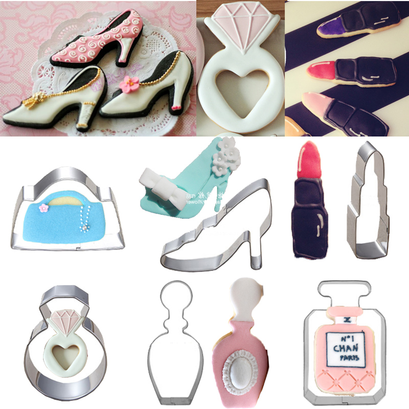 6pcs Fashion Woman Shoes Bag Perfume Lipstick Cookie Cutters Fondant Cake Tools Biscuit Pastry Shop Stainless Steel Molds Metal(China (Mainland))