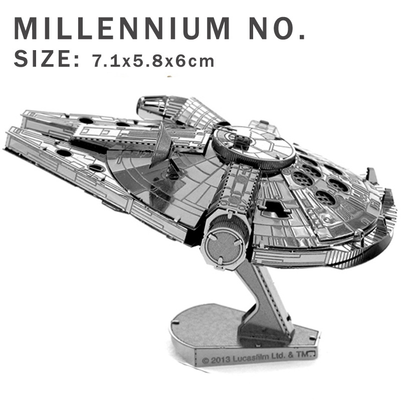 Star Wars airplane model 3D metal puzzle DIY model Jigsaws X-Wing Fighter R2D2 robot Millennium No. model aircraft Wars Puzzles(China (Mainland))