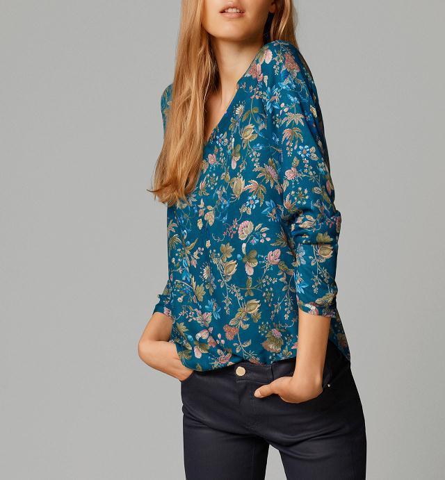 Women vintage floral V neck blouses long sleeve shirts Blusas Femininas European casual brand tops plus size hot sale ST2394(China (Mainland))
