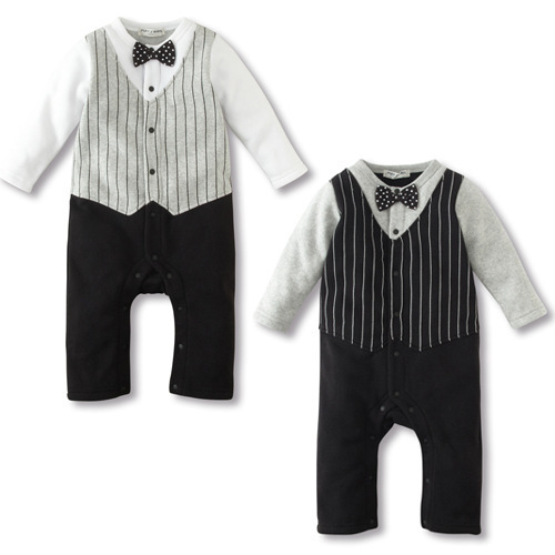 3 pcs/lot New Spring 2015 Baby Boys Gentleman Romper jumpsuit baby vest bow tie fake two climb clothes CH031(China (Mainland))